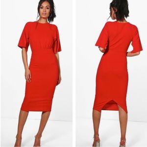 Boohoo Red Midi Dress with Split Sleeves